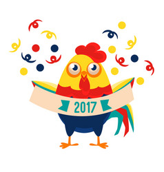 Rooster cartoon character holding festive banner vector