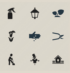 Set of 9 editable plant icons includes symbols vector
