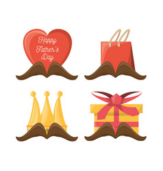 Set of fathers day with mustaches and gift design vector