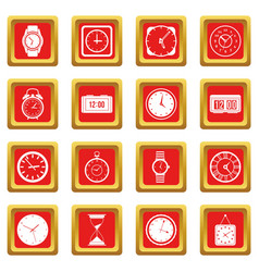 time and clock icons set red vector image