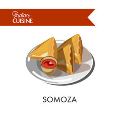 Traditional indian somoza with sauce on shiny vector