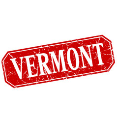 Vermont red square grunge retro style sign vector