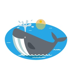 With cartoon whale vector