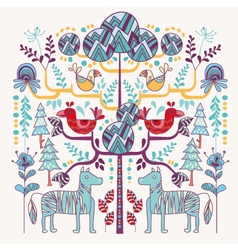 Scandinavian style animal and floral vector
