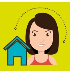 Woman home page web vector
