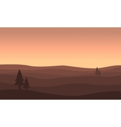 Landscape of hill silhouettes vector