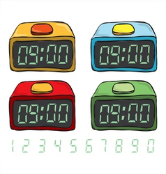 Digital clock set vector