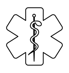 Monochrome contour with health symbol with star of vector