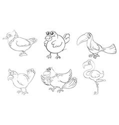 Different birds in doodle design vector image