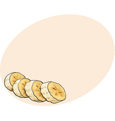 Sliced chopped unpeeled ripe banana sketch style vector