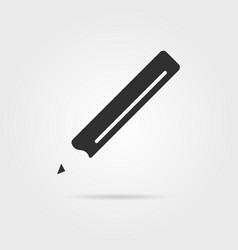 Black pencil icon with shadow vector