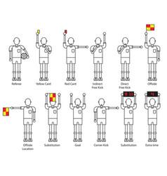 Referee football signals icon set vector
