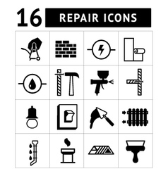 Set icons of construction buildinghouse repair vector