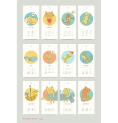 Calendar design cat 2015 vector