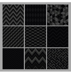 Seamless black geometric hipster background set vector