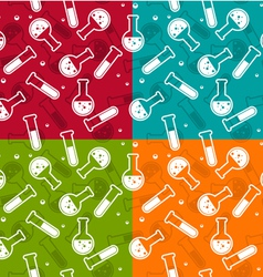 Seamless background with lab test tubes and flasks vector