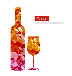 Triangle wine bottle and glass vector