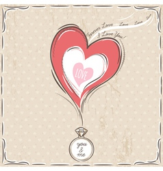 Valentine card with heart and engagement ring vector