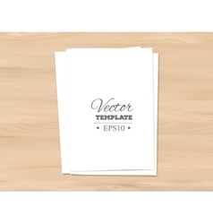 Template of blank paper sheet on a wooden vector