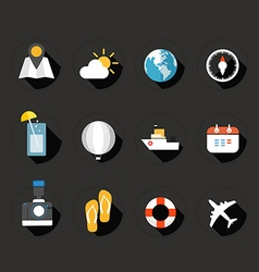 Trip icons collection vector