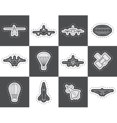 Different types of aircraft and icon vector