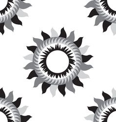 Black and white flower sun seamless pattern vector
