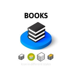 Books icon in different style vector