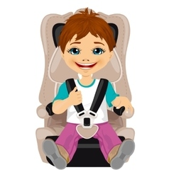 Little boy strapped to a car seat vector