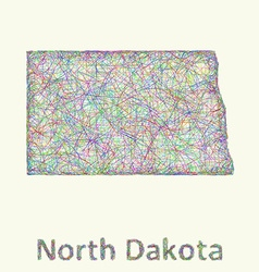 North dakota line art map vector