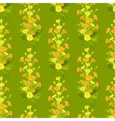 Green yellow primroses pattern vector