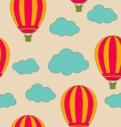 Retro Seamless Travel Pattern of Air Balloons and vector image