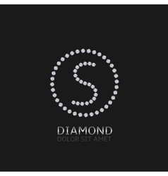 S letter with diamonds vector