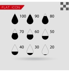 Set drop black icons square vector