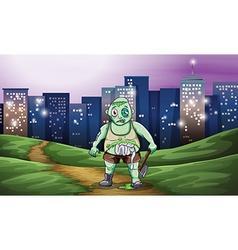 A zombie across the city vector