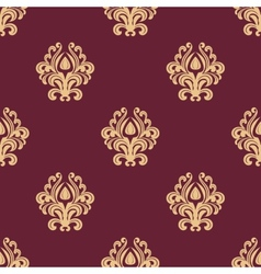 Beige floral seamless pattern on maroon background vector image vector image