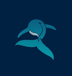 Blue whale away logo sign emblem on dark blue vector