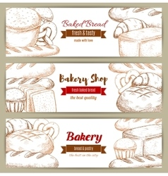 Brick of bread loaf sketch banner vector