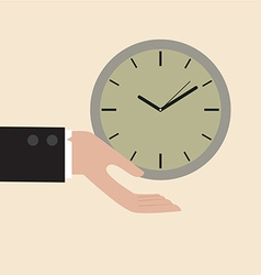 Clock floating on businessman hand vector