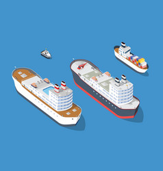 Cruise boat and naval ships vector