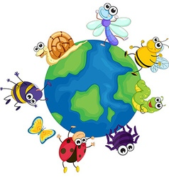 Different bugs around the world vector image vector image