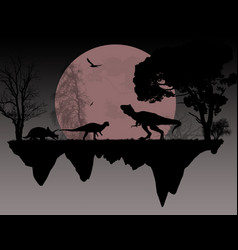 dinosaurs silhouettes in front a full moon vector image