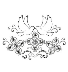 doves with flourishes 2 vector image