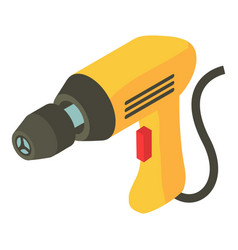 electric drill icon isometric 3d style vector image