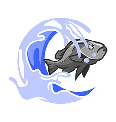 Fish And Splash Water vector image vector image
