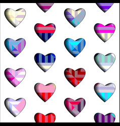 Geometric hearts pattern vector