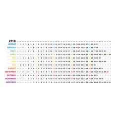 German linear calendar sundays selected vector