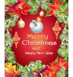 greeting card with Christmas and New Year vector image