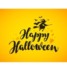 Happy halloween banner hand drawn lettering vector