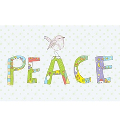 Peace background with sign and bird vector image vector image