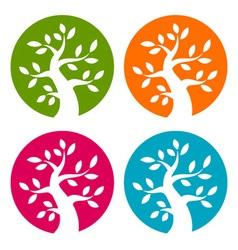 Set of Colorful Season Tree Bold icons vector image